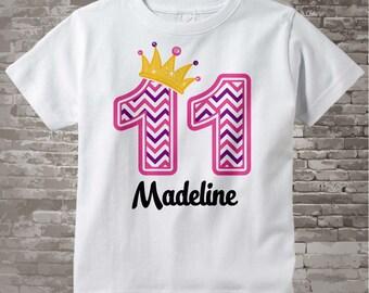 Eleventh Birthday Shirt, Pink Chevron 11 Birthday Shirt, Any Age Personalized Girls Birthday Shirt Pink Age and Name Tee kids 09172015c