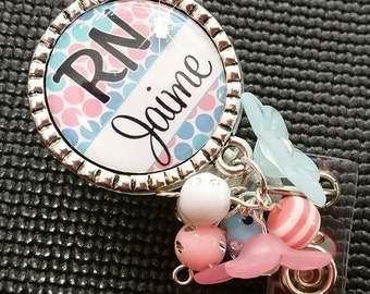 Personalized ID Badge Reels- Rn Lvn Cna - Medical - Pink and Blue Dots Design with Swavorski Rhinestone