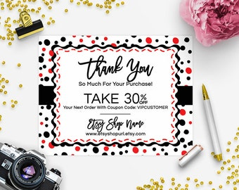 30% OFF SALE Thank You Card - Business Thank You Card - Promotional Card - Branding - Packaging - Confetti Fun