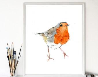 Cute Robin art print, Robin watercolor print, Wild life art, robin watercolor, Birds art, Robin art, nursery decor, Christmas, robin art
