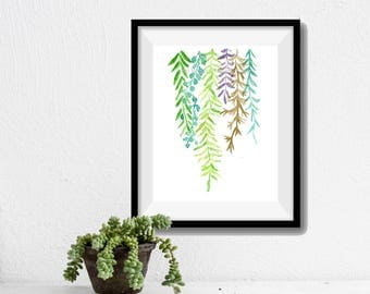 Art print Abstract Ferns, ferns watercolor print,  Plants art, abstract leaves art, fern leaves print, modern art, ferns art, fresh colors