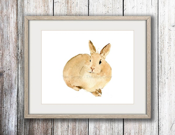 Nursery decor, rabbit print, cute bunny art Print, rabbit  watercolor print, Easter bunny, animals art, Kids room, woodland, caramel brown