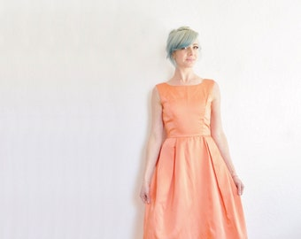 mod peach satin dress . floor length formal party wear . bow back .extra small.xs .sale