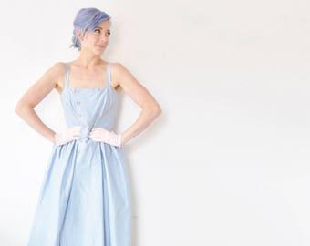 1950 swiss dot day dress . pastel blue summer sailor frock .medium .sale
