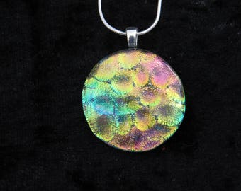 Pink Gold Green Dichroic Glass Pendant -  Dichroic Fused Glass Necklace - Round Dichroic Fused Glass Jewelry - Fused Glass Necklace