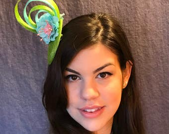 Green and Blue Confection/ Green and Blue Fascinator/Little Bon bon Fascinator/Blue and Green Hat/ English Inspired Fascinator/Bospoke Hat