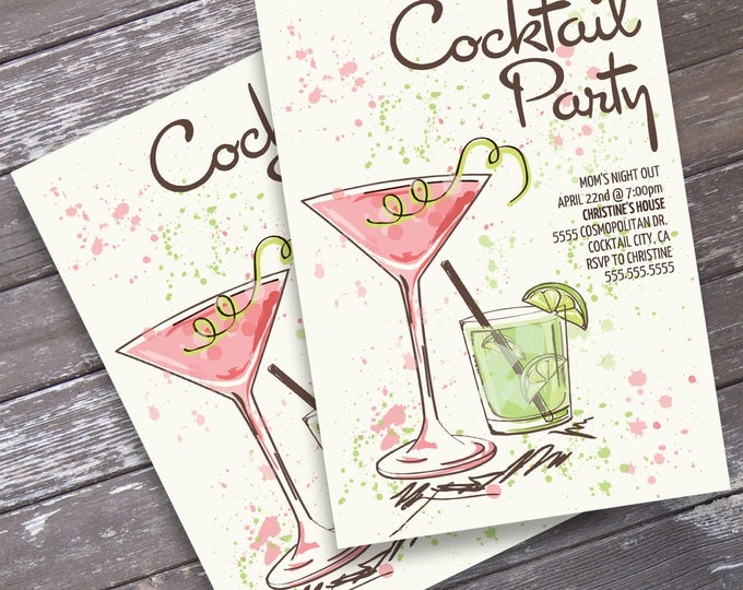Cocktail Party Invitations - Mom's Night Out, Summer Party, Adult Party, Bachelorette, Birthday | INSTANT Download Printable PDFs