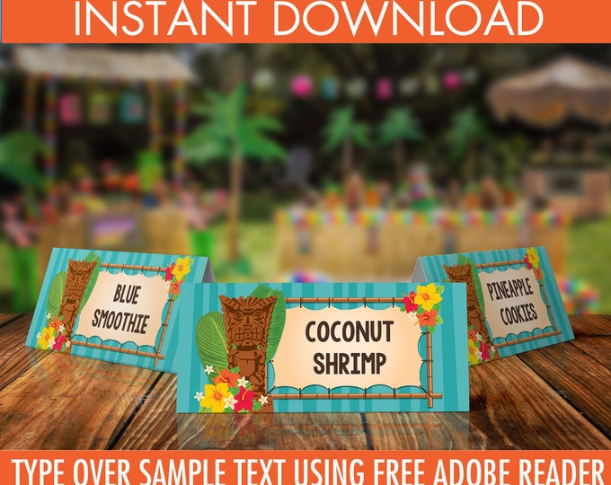 Luau Food Labels - Buffet Tags, Hawaiian Party, Luau Birthday, Luau Shower, Orange | EDITABLE Text - INSTANT Download Printable PDF