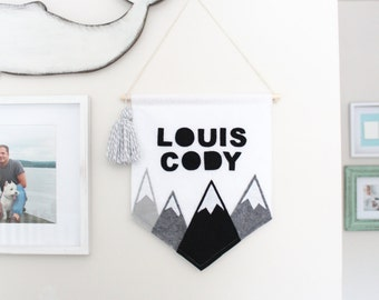 Personalized Mountains Banner . Monochrome Wall Banner . Personalized Baby Name Flag . Monochrome Nursery Decor . Personalized Wall Flag