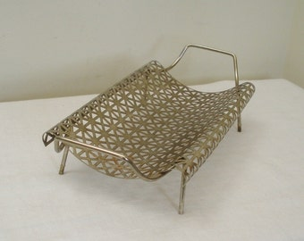 Vintage Brass Color Pierced Metal Mesh Tray
