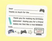 Video Game Birthday Party / Game Truck Birthday Party / Gamer Fill in the Blanks Thank You Notes - Great for Boys Birthday Thanks