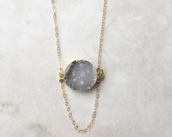 Dainty Druzy Necklace | Gold Filled