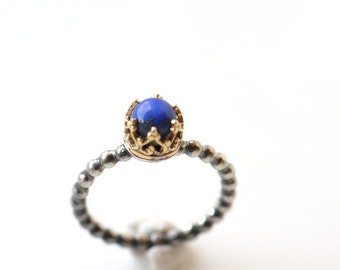 Blue lapis ring, lapis gold ring, sterling silver ring size 5, blue gemstone ring, 14K gold and silver ring, size 5 ring