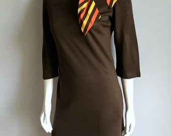 Vintage Women's 70's R & K Originals, Brown Polyester Dress, Knee Length (M)
