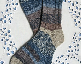 Hand Knit Wool Socks  - Women Medium/Small - Superwash Opal Yarn