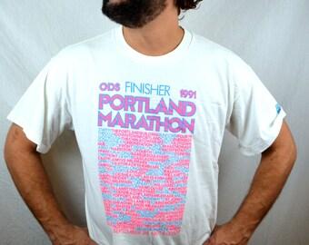 Vintage 1991 Portland Marathon Finisher Souvenir Tee Shirt Tshirt - NIKE tag