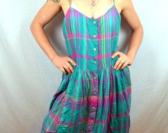 Vintage 80s 90s Plaid Rainbow Summer Dress