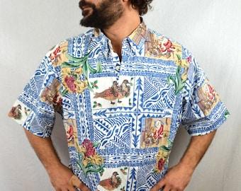 Vintage Reyn Spooner Blue Christmas Hawaiian Shirt - Vtg 90s Mele Kalikimaka Reverse Print - XXL