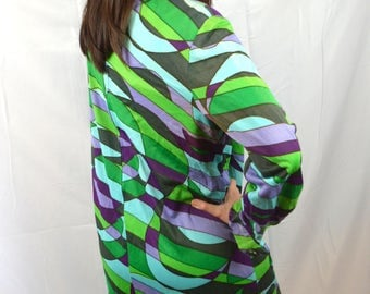 Vintage Psychedelic Purple Blue Green Swirl 1960s 70s Dress - Cover Girl Miami