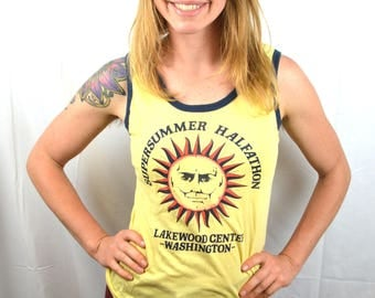 Vintage 1980s Awesome SUN Ringer Tank Top Shirt