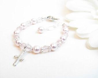 Pink Baby Girl Bracelet // Baptism Bracelet // Christening Bracelet // Baby Bracelet // Child's Bracelet // Flower Girl Bracelet //Baby Girl