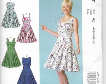 Uncut, Misses Size 6-14, Sewing Pattern, Mccalls 7117, Woman, Dress, Evening, Day, Fit and Flare, Little Black, Pleats, Strapless Sleeveless