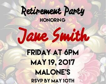 "Retirement Party 5""x7"" Custom Party Invitation Digital Printable"