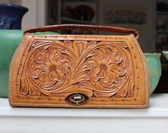 Leather tooled Purse handbag Mexican Western VINTAGE by Plantdreaming
