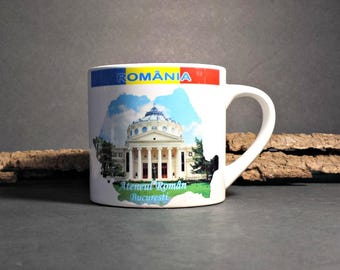 Romania Souvenir Mug / Porcelain Souvenir Cup from Romania / Ateneul Roman Burcesti Mug