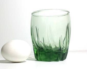 Anchor Hocking Central Park Fern Green Double Old Fashioned Glass / Green Swirled Glass Short Tumbler
