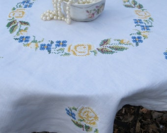 Small Tablecloth with Yellow Cross Stitched Roses, Embroidered Tablecloth, Table Topper, Card Table Tablecloth, by mailordervintage on etsy