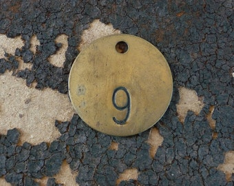 Brass ROUND Primitive Rustic Shabby Numbered Tag Vintage Patina Charm Finding Number No 9