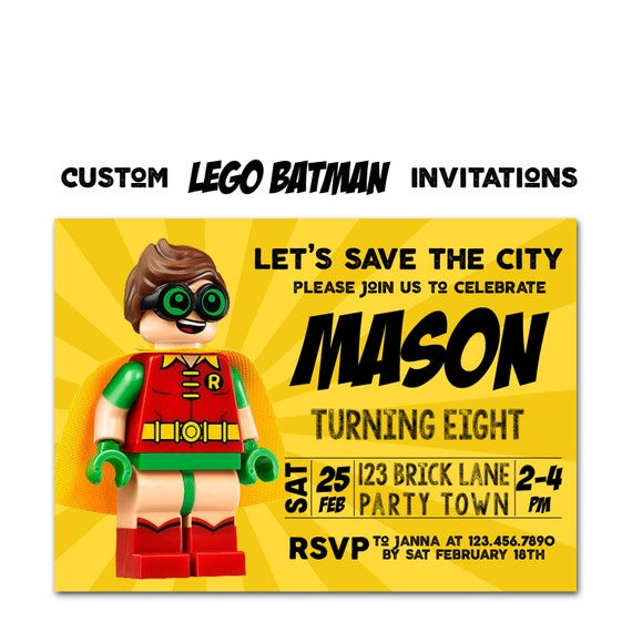 Lego Batman Birthday Invitation Lego Movie Party Invitation Lego