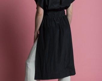 Vintage 70s Black Apron Midi Dress   4/6