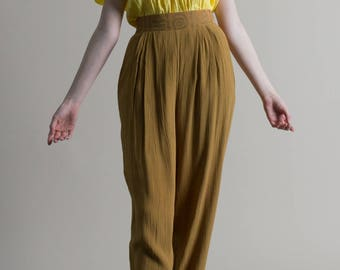 Vintage 80s Mustard Trousers / Gold Pleated Pants / Aztec Tribal