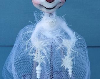 SnowLady Folk Art Doll Snowman OOAK Handmade Decor Winter Decor Ice Cream Scoop doll