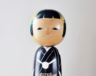 Vintage Hand Painted Wooden Kokeshi Japanese Doll, Made in Japan Wooden Doll, Black Kimono Doll, Wooden Doll, Hand Painted Doll