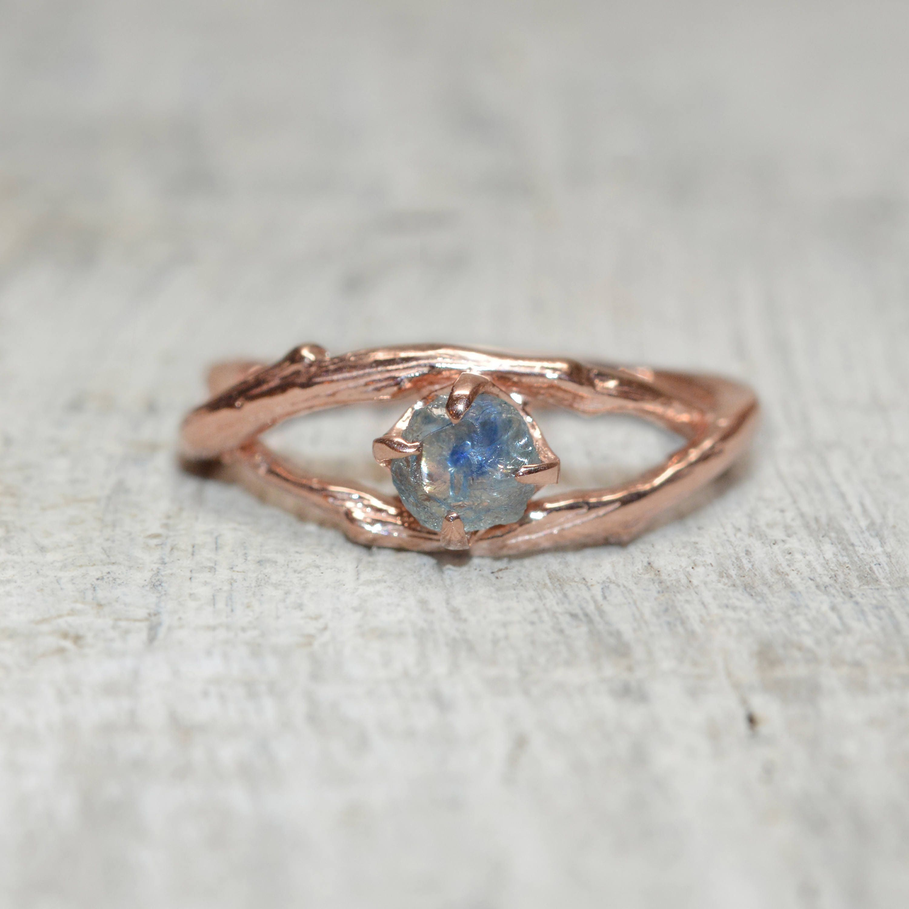 Montana Sapphire Engagement Ring  Unique Nature Inspired Engagement Ring  In Yellow Gold, White Gold