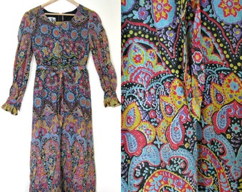 Vintage 60s Bohemian maxi dress / Hippie Boho maxi 1960s dress  / Gypsy Folk floral Caravan paisley print dress