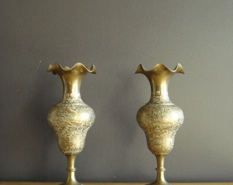 Brass Ruffle - Large Vintage Etched Brass Vases - Tall Brass Vases with Ruffled Rim - Brass Statement Piece
