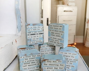upcycled mini collages, poetry collages, altered collages, altered blocks, beeswax, beeswax collages, found art, altered art, wood collages