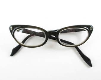 Cat Eye Glasses Black and Brown Two Tone Ward Tam Small Frames Vintage Eyewear Mid Century