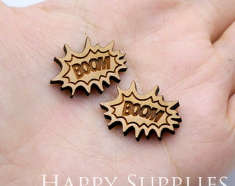 4pcs (SWC261) DIY Laser Cut Wooden BOOM Charms