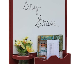 Whiteboard Mail Organizer with Large Mail Slot and Mason jar - Dry Erase Board - Wood - Letter Holder - Mail Holder - Key Hooks