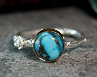 Gold Turquoise Twig Ring, Copper Turquoise Solid 925 Sterling Silver Jewelry, Bohemian Style Promise Ring