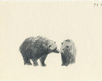 about love, two bears in pencil, postcard in craft envelope