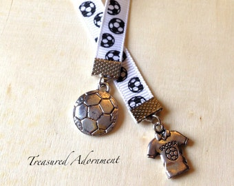 Bookmark, Soccer Charm Bookmark, antiqued silver tone,Book lover, Thank you gift for coach, Soccer Team, Soccer theme birthday party favor
