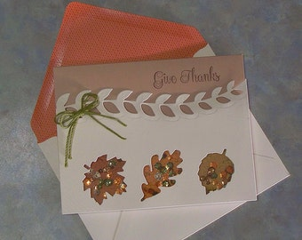 """SALE! Handmade Give Thanks Shaker Card - 5.5"""" x 4.25"""" - Stampin Up Best of Autumn Die-Cut Leaves & Fall Colors Sequins"""