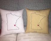 Primitive State Embroidery Heart Pillow Minnesota Wisconsin Illinois Florida New York Indiana Pennsylvania Washington