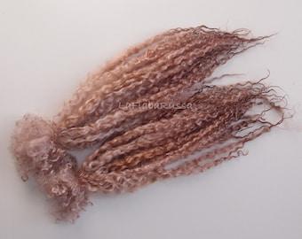 wensleydale soft brown long wool locks 40+cm long for Blythe Doll Hair, BJD, Art Dolls, waldorf doll, spinning and felt